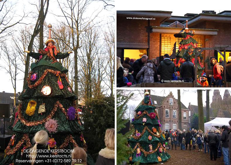 Kerstmuziek - kerstmuzikanten : De Zingende kerstboom is een geweldige muzikale kerstattractie, www.kerstacts.nl