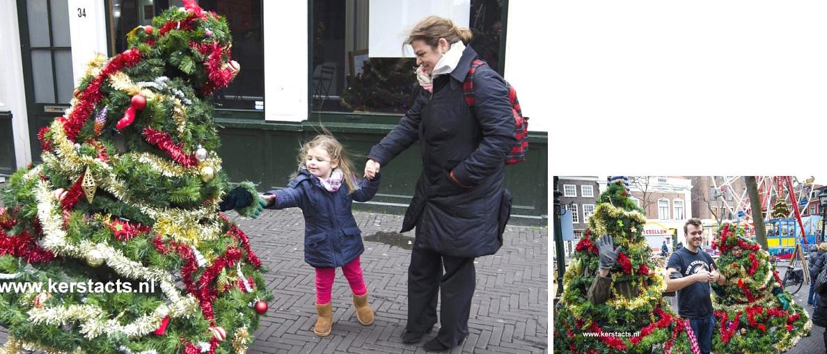 De wandelende kerstboom is kerstentertainment waar men heel vrolijk van wordt.. Jong en oud, kerstacts, thema kerst, artiesten boeken, www.kerstacts.nl