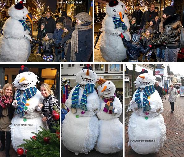 De wandelende sneeuwpop animatie is Kerstentertainment voor jong en oud in de winkelstraat, winter, wit, winters entertainment, www.kerstacts.nl