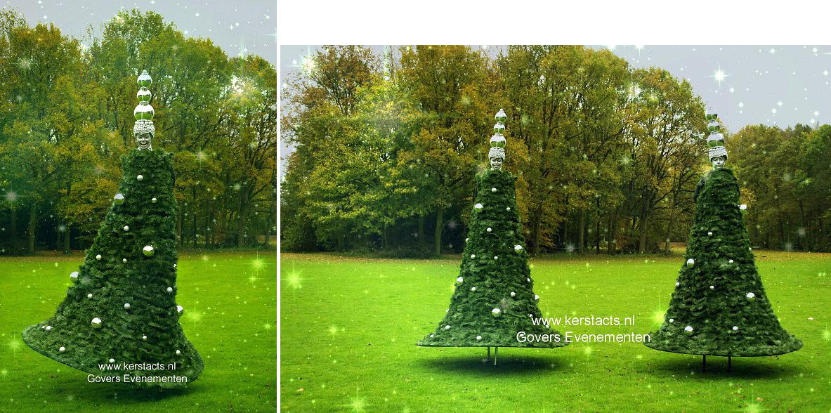 Wandelende Kerstboom is Kerst steltentheater - Winter Entertainment - Steltenact - steltenloper - Kerst straattheater, www.kerstacts.nl