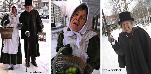De vrek Ebenezer Scrooge heeft zijn dienstmeisje meegenomen. Koud en verkleumt moet het arme wicht haar appeltjes zien te verkopen, omdat zij een enorme schuld heeft, www.kerstacts.nl