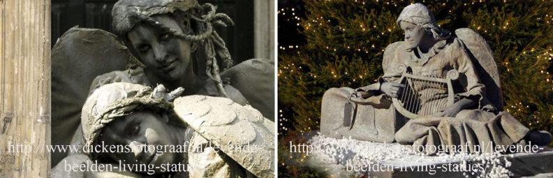Gevallen Kerstengel. Roerloos ligt zij op haar stenen sokkel. Wat is hier gebeurt ? Een engel berust in haar lot. Engelen staan symbool voor vrede op aarde. www.kerstacts.nl