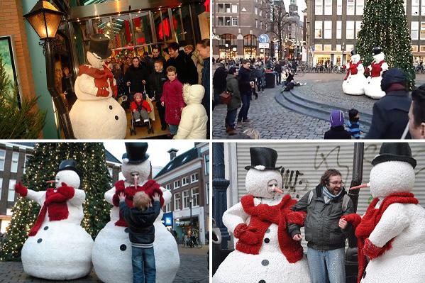 Kerstentertainment: Twee sneeuwpoppen dansen zachtjes op de maat van de muziek www.kerstacts.nl