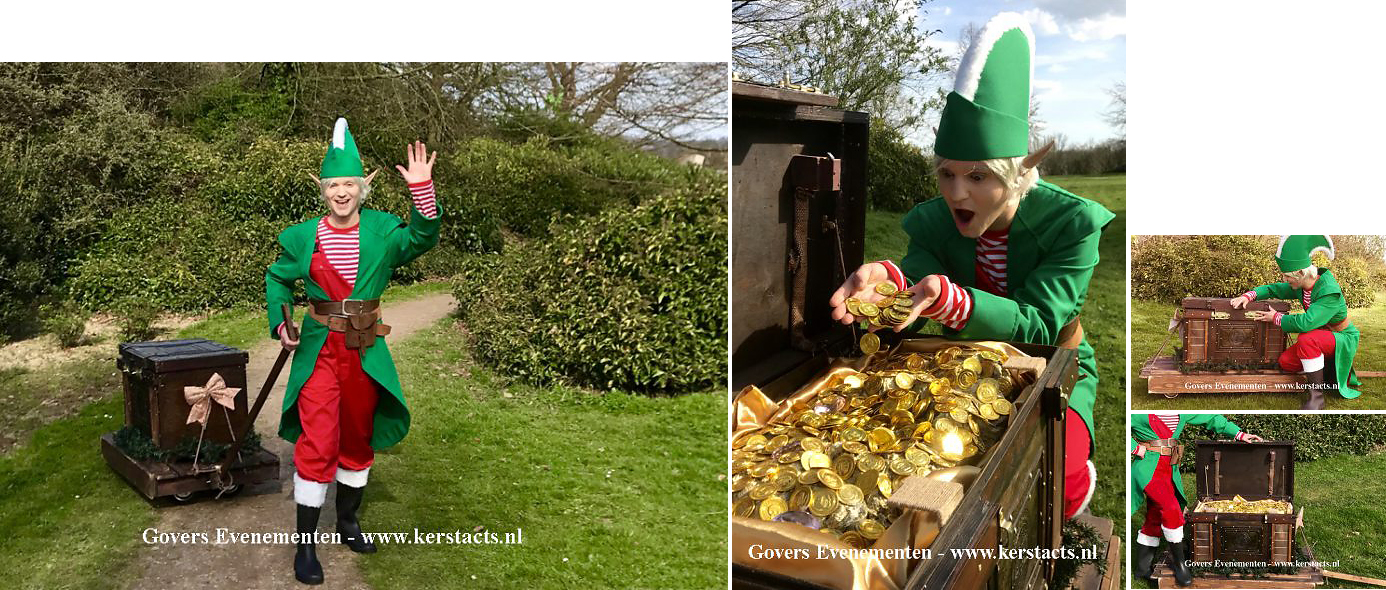 De Kerst Elf deelt snoep uit Govers Evenementen Kerst catering, winterentertainment Govers Evenementen, Kerstacts.nl, Culinair entertainment