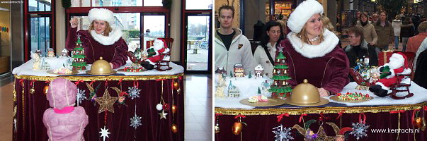 Kerst catering, winterentertainment Govers Evenementen, Kerstacts.nl, Culinair entertainment Kerstcatering - Culinair Entertainment met Miss Mable Xmass table (animatie)