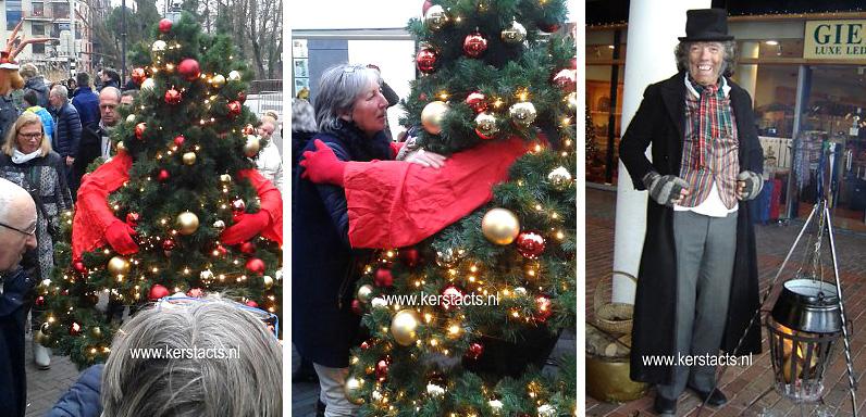 Wandelende Kerstboom, Deze acteur is heel breed inzetbaar voor uw Kerst- of winkelcentrum, ook als Dickens Scrooge figuur met warme kastanjes, www.kerstacts.nl
