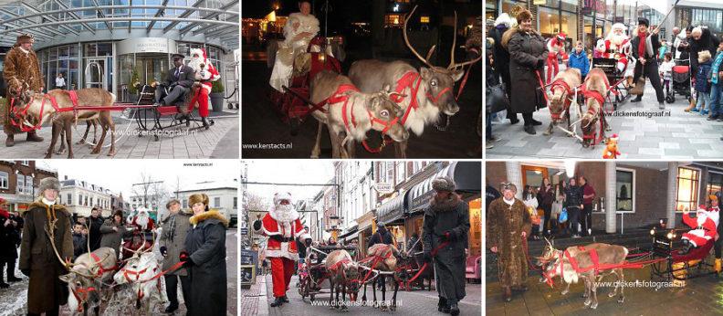 Rendier met arrenslee en Kerstman, op de foto met de Arrenslee, kerstentertainment, themafeest, kerstmis, kerst artiesten verhuur, Govers Evenementen, www.kerstacts.nl