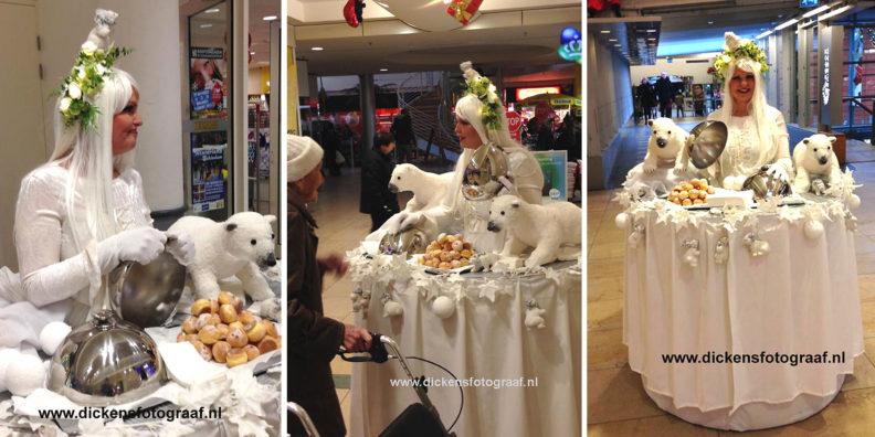 Kerst catering, winterentertainment Govers Evenementen, Kerstacts.nl, Culinair entertainment, Lopende Kersttafel. Onze Wandelende Winter Koningin komt met haar mobiele tafel naar uw evenement. Kerstcatering - Culinair Entertainment