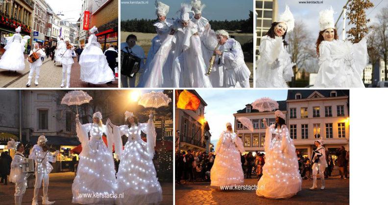 IJskoninginnen en muzikale ijsprinsen, fraai winters en muzikaal Kerst Entertainment (Steltenlopers en steltentheater) www.kerstacts.nl