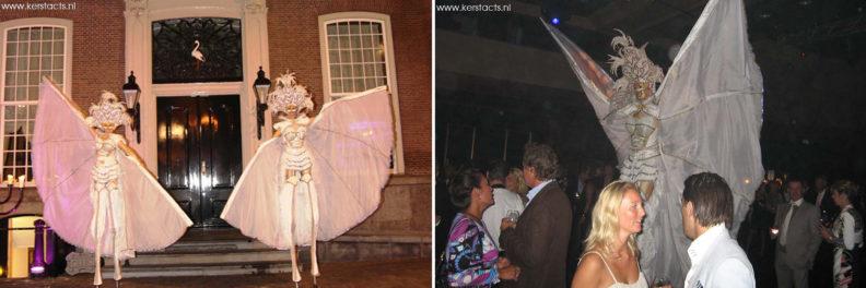 Venetiaanse Angels, steltenloopsters in witte outfits, categorie Kerstentertainment www.kerstacts.nl