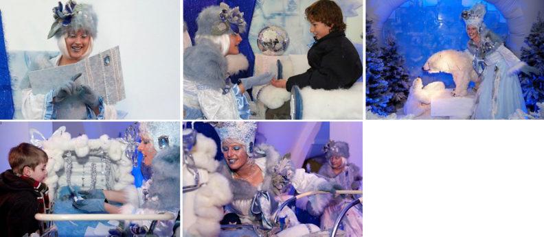 Laat je met kerst betoveren door de ijskoningin en haar charmante assistente de sneeuwdwarrel www.kerstacts.nl
