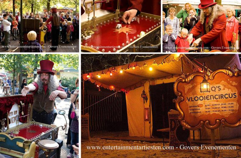Nostalgische vlooiencircus. Stapt U terug in de tijd en neem een kijkje bij het kleinste circus ter wereld, Levende Kerststal verhuur, kerst entertainment, kerst artiesten, kerstfeest, themafeest, straattheater, www.kerstacts.nl