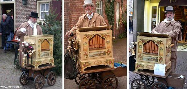 Kerstmuziek - kerstmuzikanten: Dickensorgeldraaier, draaiorgel, kerstfeest, thema kerst, www.kerstacts.nl
