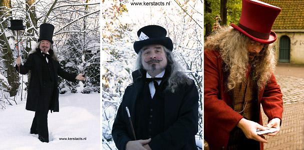 Razend snelle truuks van de Dickensgoochelaar als Charles Dickens Entertainment, www.kerstacts.nl