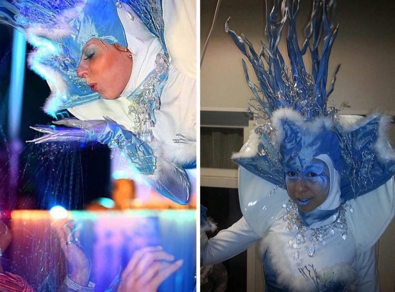 Winter Entertainment : Saga de IJskoningin uit finland kondigt de winter aan. www.kerstacts.nl