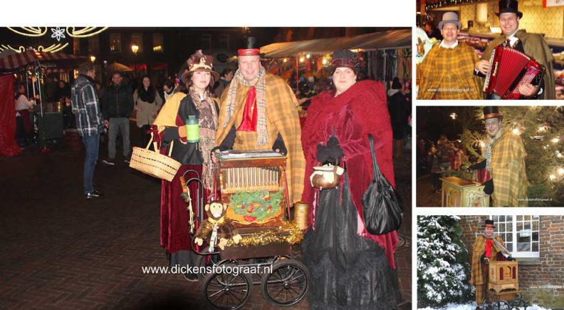 Dickens orgeldraaier. Deze in Dickens-stijl geklede orgeldraaier brengt een gemoedelijke muzikale sfeer in uw winkelcentrum of tijdens uw kerstbraderie, www.kerstacts.nl