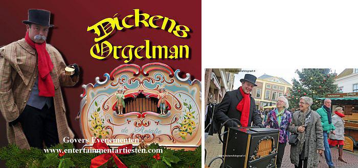 Dickens muziek, draaiorgel, kerstmuziek, kerstmuzikanten, orgelman voor kerst thema, www.kerstacts.nl