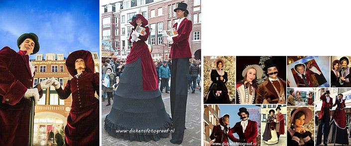 Steltenlopers met kleding uit de 19e eeuw als Charles Dickens Entertainment, steltenact, steltentheater, Charles Dickens Entertainment, artiesten boeken, kerst, kerstentertainment, steltenlopers, www.kerstacts.nl