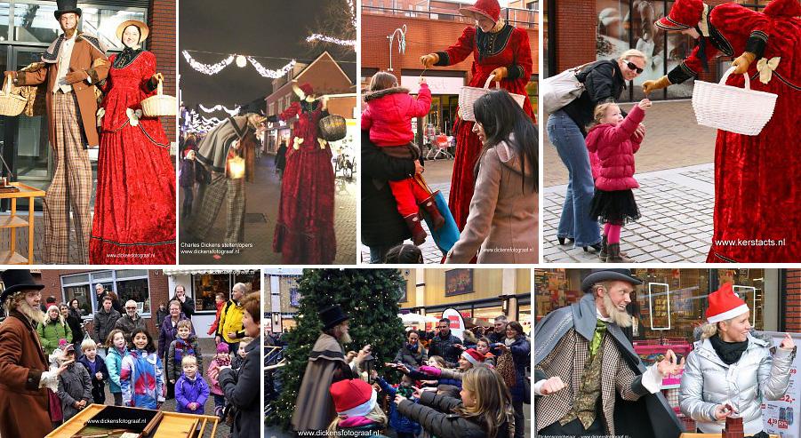 Dickensgoochelaar + Dickensvrouw op stelten verzorgen leuk kerstentertainment in de decembermaand, www.kerstacts.nl