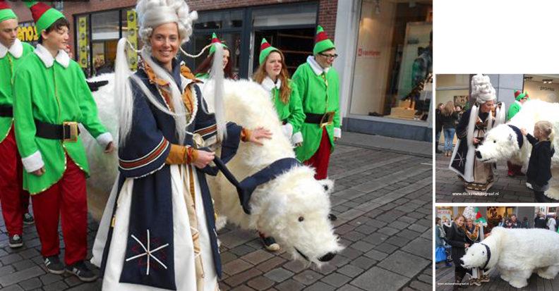 Kerst entertainment, winter entertainment, Koningin Winter straalt op uw evenement! Zij komt graag op bezoek samen met Polo, haar grote Noordpool ijsbeer. www.kerstacts.nl