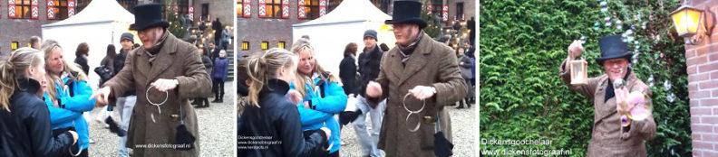 Straatgoochelaar als Charles Dickens Entertainment voor kerstmarkt of kerstbraderie, www.kerstacts.nl