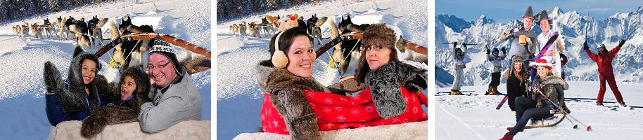 Kerstfotograaf - Funfotograaf maakt foto's in de sneeuw, in de slee, op de skipiste, komische afbeeldingen