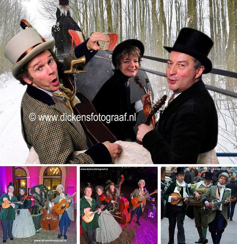 Dickenstrio, kerstmuzikanten, kersttrio, kerstmuziek, muziektrio, Dickens muzikanten, Charles Dickens muziek, artiesten boeken, artiestenbureau, www.kerstacts.nl