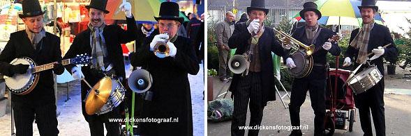 Dickensstijl looporkest, kerstmuziek, kerstmuzikanten, muziektrio, thema kerst, Charles Dickens looporkest, www.kerstacts.nl