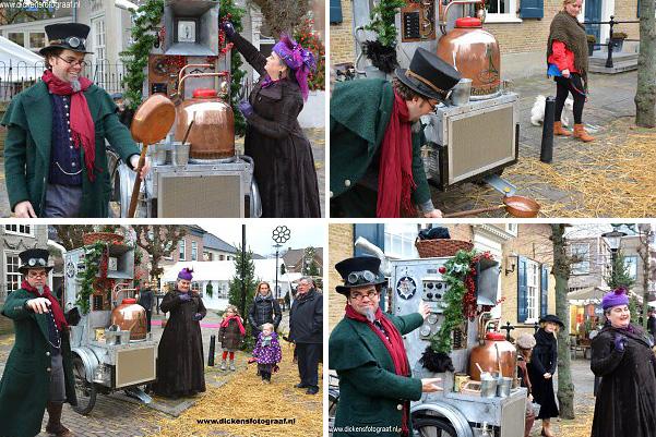 De nostalgische snoepmachine in Kerst en Dickens stijl. Hij pruttelt, sist en stoomt bij tijd en wijle,. Kerst Entertainment, www.kerstacts.nl