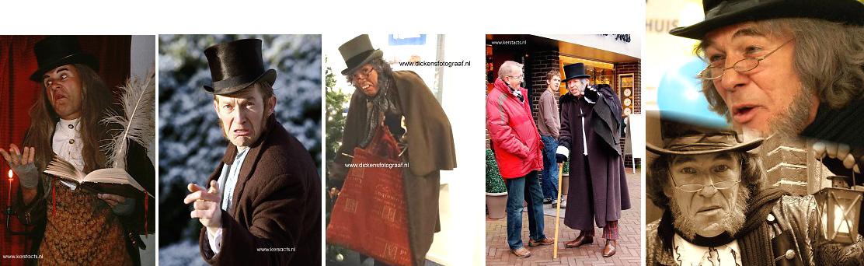 Ebenezer Scrooge, een komische rondlopende act waarbij veel interactie met het publiek plaatsvindt: Kerst Entertainment, www.kerstacts.nl