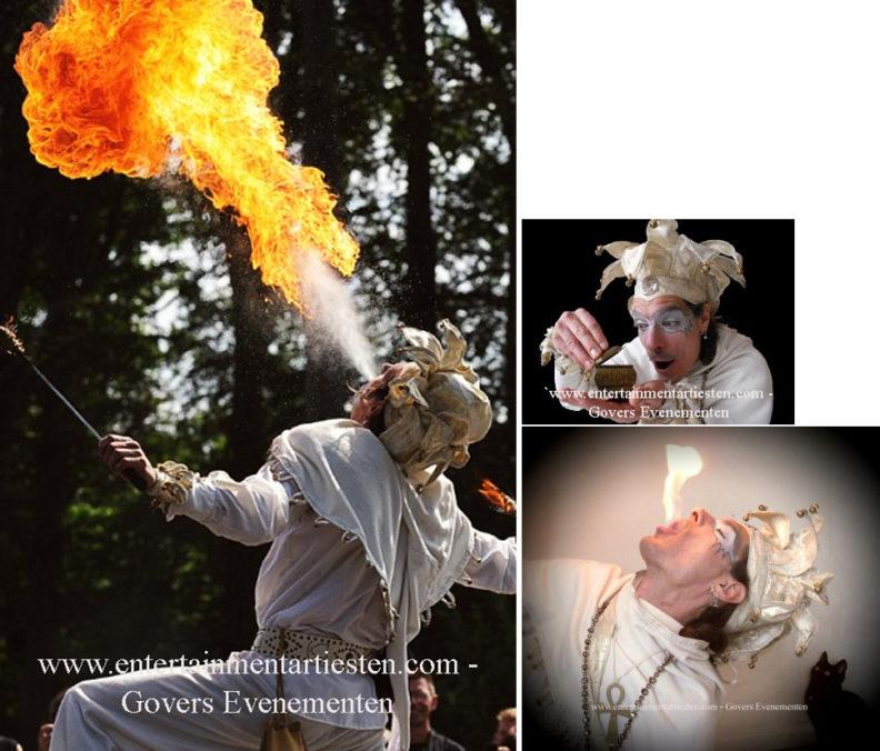 Midwinter Nar Vuurspuwer, vuurspugen, Vuurshow, jongleren, Govers Evenementen, winters entertainment, www.kerstacts.nl