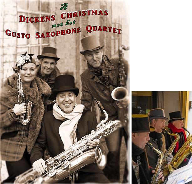 Dickens Christmas saxofoon orkest, muzikanten voor Charles Dickens evenement, kerstmuziek, www.kerstacts.nl