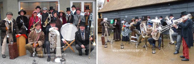 kerstmuzikanten kerstmarktmuziek, Dickens blaasorkest. Met een optreden in historische kostuums en welbekende kerstklanken krijgt elke kerstactiviteit een bijzonder accent wat bezoekers zeer zullen waarderen, www.kerstacts.nl