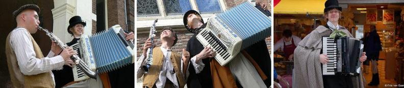 Kerstmuzikanten Dickensduo spelen ambulant gezellig kerstrepertoire op straat, www.kerstacts.nl