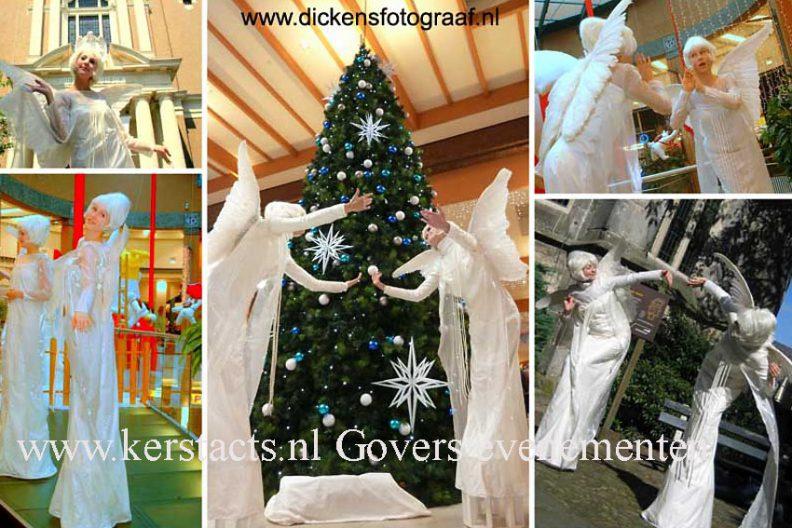 kerst op stelten winter entertainment kerstacts wit acteurs Govers Evenementen, www.kerstacts.nl