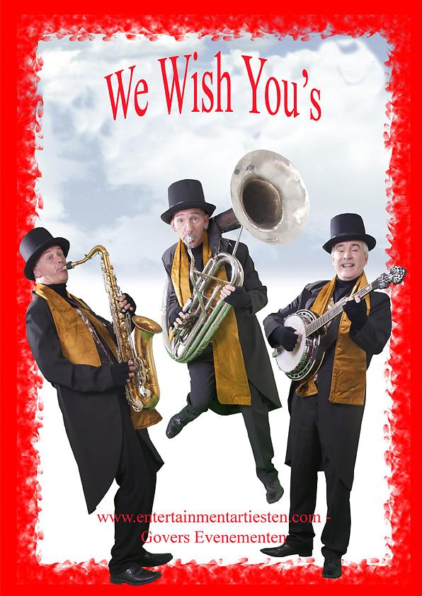 We Wish you's Kerstmuzikanten voor winkelcentrum, kerstbraderie of kerstmarkt, Dickens muzikanten, www.kerstacts.nl