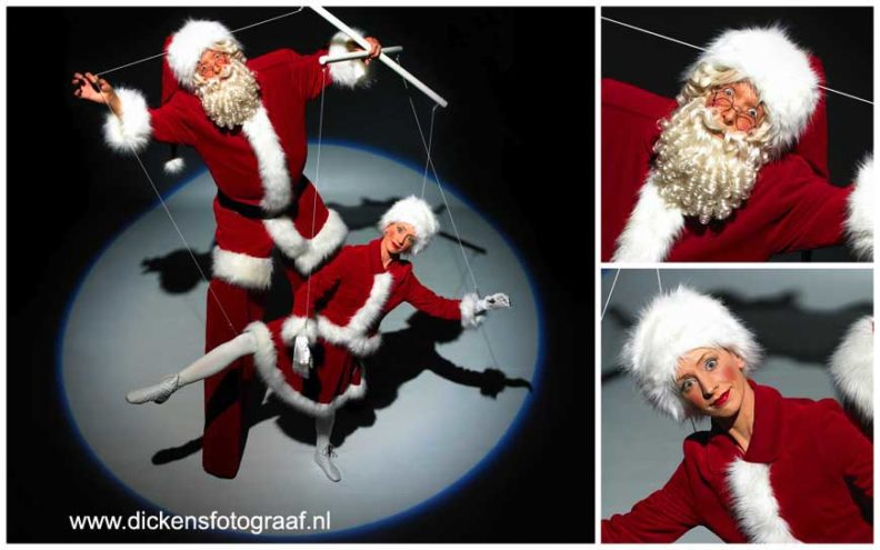 kerstact, kerstacts, kerst entertainment, kerstartiesten, kerstvermaak, winter entertainment, winteract, winteracts, kerstentertainment inhuren, Levende beelden van Kerstman & Marionette. Een mobiele, zeer visuele en interactieve winteranimatie. De marionettenspeler komt met zijn lievelingsspeeltje aangelopen.