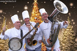 Kerstmuziek, Kerstmuzikanten, Muziektrio, Kerst catering, winterentertainment Govers Evenementen, Kerstacts.nl, Culinair entertainment, Kerstcatering Culinair Entertainment met muzikanten Cooking with Xmass
