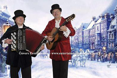 Dickens muzikanten Dickens Kerstmuziek, duo muziek, kerst, www.kerstacts.nl