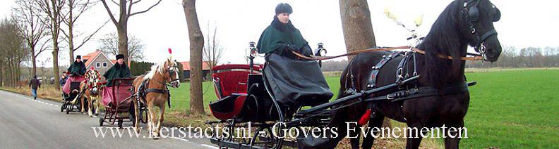 Kerst Arrenslee te huur met paard en en koetsier of Kerstman, kerst entertainment, Govers Evenementen, www.kerstacts.nl