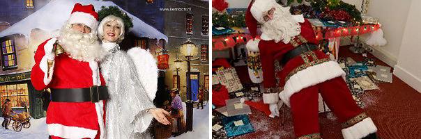 Kerstentertainment, kerstman, kerstartiesten, winter acts, kerstact, kerstacts, entertainment, kerstartiesten boeken, winterentertainment boeken, kerstmuziek, artiesten boeken, winter, kerst, christmas, kerst, artiestenbureau, Govers Evenementen, themafeest, winkelcentrum kerst, Dickenskoor, charles dickens entertainment, kerst steltenlopers, kerstmuzikanten, Kerstman met zijn charmante Kerstengel. Een komische, rondlopende act waarbij veel interactie met het publiek plaatsvindt.