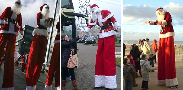 Kerstmannen op stelten, Steltenlopers - steltentheater -steltenact, winters entertainment, kerstman boeken, www.kerstacts.nl
