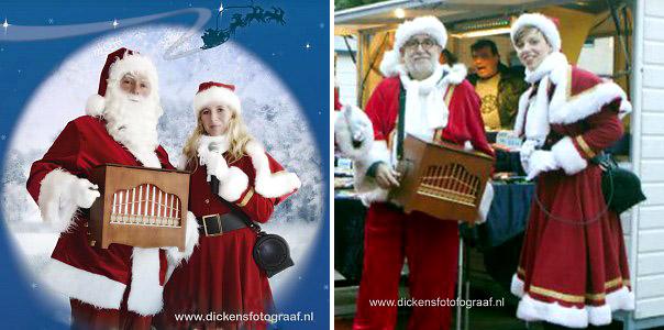 Kerstman en zijn vrouw met draaiorgel, kerstmuziek, kerstmuzikanten, bandje, kerstentertainment, kerstartiesten boeken, muzikanten boeken, kerstkoor, themafeest, winterentertainment, wintermuziek, muziektrio, muziekduo, kerstzanger, kerstact, kerst repertoire, kersttijd, akoestiche muziek, mobiele muziek, winterfeest, nieuwjaarsfeest, stijlvolle muziek, muzikaal entertainment, kerstmis, kerstdiner, kerstborrel, kerstviering, kerstmarkt, kerstman muziek, white Christmas, Govers Evenementen, Buikorgeldraaier met zangeres. Hun repertoire omvat vrijwel alle kerstklassiekers waarmee zij hun publiek weten te vermaken, www.kerstacts.nl