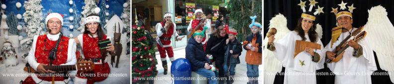 kerstmuziek, kerstmuzikanten, bandje, kerstentertainment, kerstartiesten boeken, muzikanten boeken, kerstkoor, themafeest, winterentertainment, wintermuziek, muziektrio, muziekduo, kerstzanger, kerstact, kerst repertoire, kersttijd, akoestiche muziek, mobiele muziek, winterfeest, nieuwjaarsfeest, stijlvolle muziek, muzikaal entertainment, kerstmis, kerstdiner, kerstborrel, kerstviering, kerstmarkt, kerstman muziek, white Christmas, Govers Evenementen, Twee zingende en swingende kerstfiguren met een rijdende kerstboom en ballonerie, www.kerstacts.nl