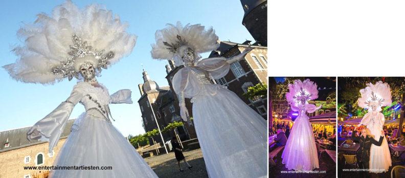 Kerst Entertainment voor kerstmarkt of winkelcentrum, kerst steltenlopers, thema kerst, winters wit, www.kerstacts.nl