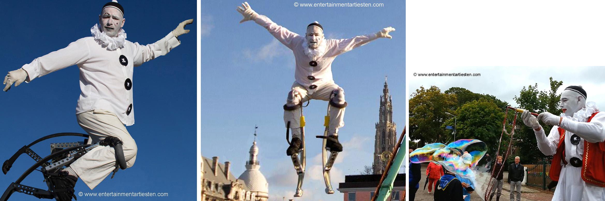Steltenloper Clown Pierrot, een veelzijdige acrobaat-jongleur-entertainer, winter entertainment, kerst, kerst artiesten, artiesten boeken, straattheater, jongleur, www.kerstacts.nl