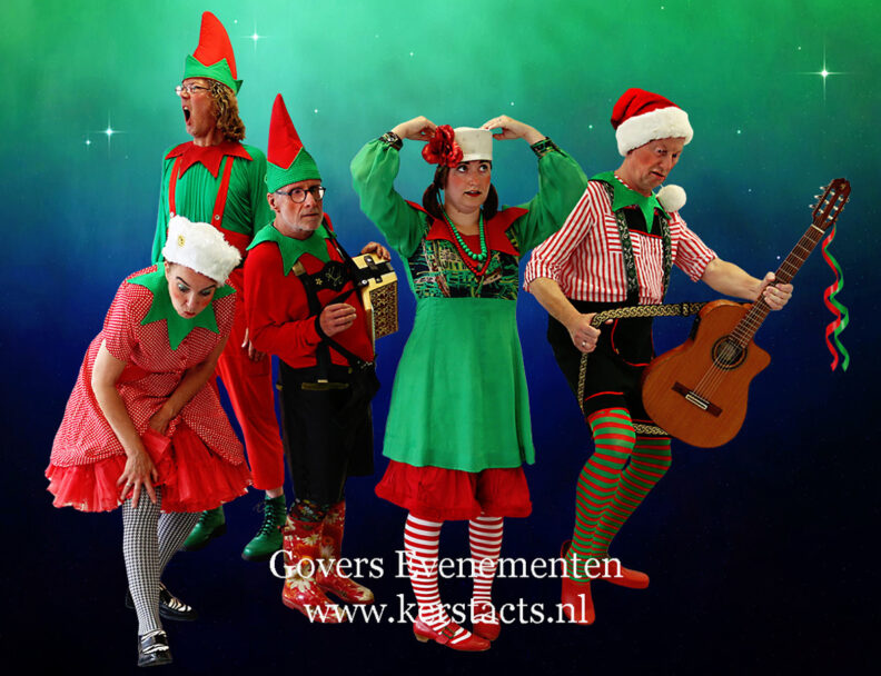 De Stapelzotte Kerstelfen, kerstentertainment, kerstmuziek, kerstmuzikanten, straattheater voor de kerstperiode, winterentertainment, kerstmarkt artiesten, kerstartiesten boeken, Govers Evenementen, www.kerstacts.nl