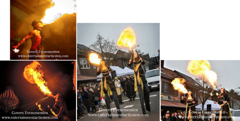 Winterentertainment, Winters vuur op stelten, steltenlopers, steltenact, kerstact, kerstacts, kerst entertainment, winter entertainment, winteract, winteracts, kerstentertainment inhuren, Midwinter Nar Vuurspuwer, vuurspugen, Vuurshow, Govers Evenementen, www.kerstacts.nl